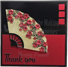 Created by Deanna Pannell using Dee's Distinctively Fan Set, Thank you and Mini Squares. Starform Peel Off for the branch and flower punches. Simple and easy card. The most important element bringing this card together is the balance of colour using the mini squares red in the top right corner and Thank you in black in the bottom left. http://www.deesdistinctively.com