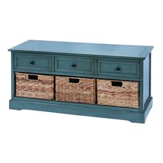 A rich blue finish on this beautiful wood cabinet is ideal for any decor. This cabinet features three removable baskets for convenience.
