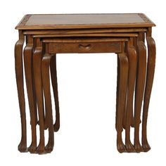4 Teak Carved Nesting Tables $225 - Niles http://furnishly.com/catalog/product/view/id/5069/s/4-teak-carved-nesting-tables/