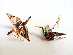 Origami cranes earrings Japanese washi paper