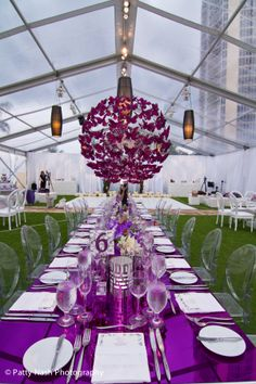 modern butterfly wedding in a clear tent