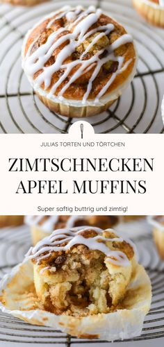 Cinnamon rolls apple muffins - buttery, cinnamon and simple! - Cinnamon Roll Apple Muffins Recipe for quick and easy cinnamon roll muffins with apples. Muffin Recipes, Baking Recipes, Dessert Recipes, Dessert Food, Cheesecake Recipes, Cinnamon Roll Muffins, Cinnamon Rolls, Cinnamon Cupcakes, Donut Muffins