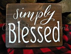 Simply Blessed Wood Plaque Sign Wall Hanging Blessed Wall #rusticdecor #rusticfarmhouse #woodsigns #simplyblessed #blessed #distressed