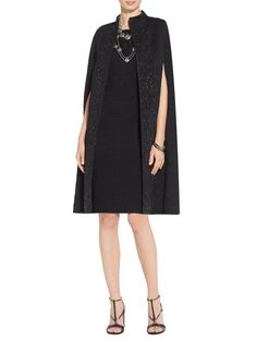The textural Matelassé that makes up this chic cape gives it an extra flair for the dramatic. As do the funnel neck and sequined embellishment. Taken together, these divine details mean one thing—never has basic black held so much stylish interest. Slip it on over any St. John evening gown and reign supreme.