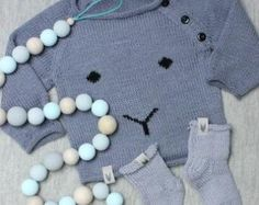 Baby handknitted Bear sweater Cloud jumper Baby by BabyMoreGoods