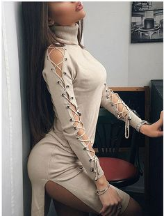 Your look tender & sexy in this Lace-up Sleeved Side Slit Slim Knitted Turtleneck Dress. Cotton Fabric Approx Length Turtleneck Lace-Up Long Slee Girly Outfits, Cute Casual Outfits, Sexy Outfits, Sexy Dresses, Casual Dresses, Fashion Dresses, Look Fashion, Trendy Fashion, Girl Fashion