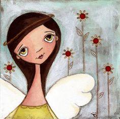 Print of my original folk art, mixed media painting - She Kept a Simple GArden   angel. $10.00, via Etsy.