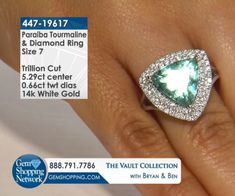 Blue Trillion Tourmaline & White Diamond Halo Ring. Discover Gemstones and stunning jewelry from every era, vintage diamond rings, Art Deco blue sapphire earrings, estate emerald bracelets, ruby necklaces and more! Tune in to Gem Shopping Network to see more stunning Gemstones & Jewelry 24/7.  Item #447-19617 5.29 ct Paraiba Tourmaline Trillion & 0.66 ctw Diamond Round 14K White Gold Ring Size 7