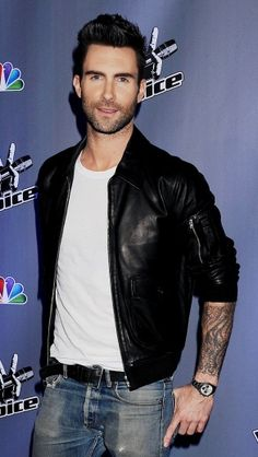 Adam Levine - Leather Jacket and Jeans