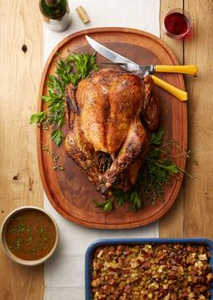 Garlic-Aioli Roasted Turkey with Lemon-Parsley Au Jus Recipe Best Turkey Recipe, Turkey Recipes, Roasted Turkey, Roasted Garlic, Au Jus Recipe, Moist Turkey, Garlic Aioli, Turkey Chicken, Thanksgiving Recipes