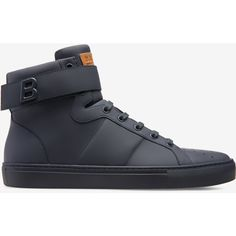 Bally HEGON Men's matte calf leather high-top trainer in ink ($550) ❤ liked on Polyvore featuring men's fashion, men's shoes, men's sneakers, mens lace up shoes, mens black hi top sneakers, bally mens shoes, mens sneakers and mens hi top shoes