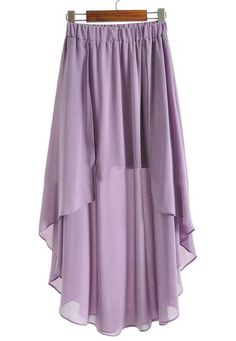 Purple Elastic Waist Asymmetrical Chiffon Skirt pictures