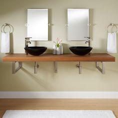 "73"" Teak Wall-Mount Vessel Sink Vanity - Triangular Brackets - Bathroom"