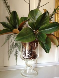 Easy Holiday Arrangement - love the magnolia leaves, wedding???