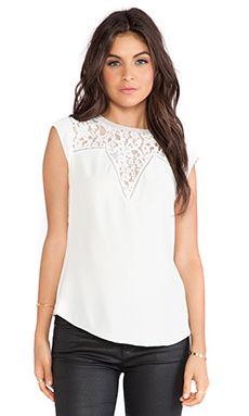 Rebecca Taylor Silk & Lace Mix Top in Chalk