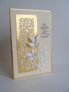 card making ideas cardmaking die cutting I just love white with ivory.and the gold just made the whole thing simply delightful to me! Handmade Birthday Cards, Greeting Cards Handmade, Pinterest Birthday Cards, Pinterest Cards, Tarjetas Stampin Up, Karten Diy, Spellbinders Cards, Embossed Cards, Paper Cards