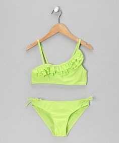 Take a look at this Green Ruffle Bikini - Girls by Waves on #zulily today!