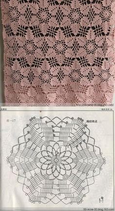 "diy_crafts-Bonito motivo de crochê ""Crochet lace tablecloth square with flower and diamonds motif. Many beautiful filet crochet valances, curtain Crochet Motif Patterns, Crochet Diagram, Crochet Chart, Thread Crochet, Crochet Stitches, Knitting Patterns, Crochet Designs, Scarf Patterns, Crochet Bedspread"