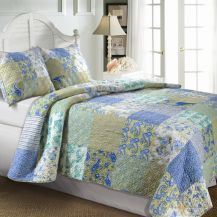 Bring a lovely antique look into your bedroom with this quilt set.  Generously cut for extra coverage, the Vintage Jade quilt features a lovely patchwork design with a stripe print on the back.