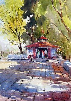 Watercolor Landscape Paintings, Watercolor Artists, Watercolour Painting, Painting & Drawing, Painting Lessons, Abstract Paintings, Oil Paintings, Watercolors, India Art