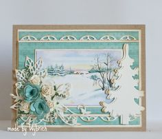 Marianne Design Challenge Blog (pretty, but my idea.... to reuse winter scene card, minus the flowers - can't mail those)