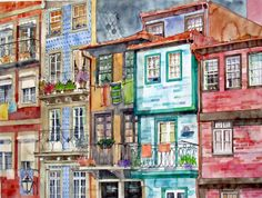 Houses in the city of Porto, watercolour by Vanessa Azevedo