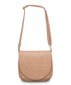 Loving this Blush Embossed Sugar Skull Stud Crossbody Bag on #zulily! #zulilyfinds