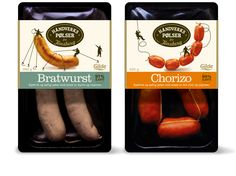 Funny sausages, be sure and look closely at the illustrations PD Food Packaging Design, Brand Packaging, Chorizo, Fresco, Carnicerias Ideas, Meat Packing, Fish And Chicken, Vintage Packaging, Bratwurst