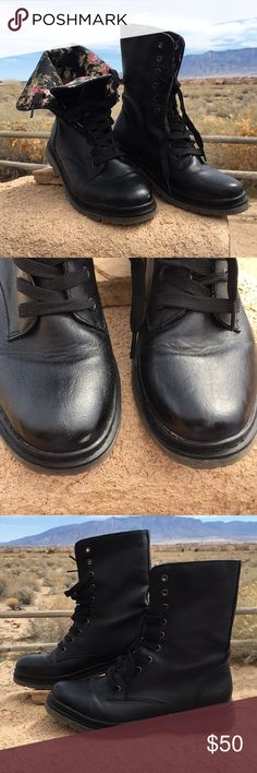 REPORT black lace-up combat boots w/floral lining. REPORT black lace-up combat boots with gun metal grommets and floral lining. Size 8.5. Worn once. Minor scuff on toes as indicated in picture. Odor free. Smoke/pet free home. Report Shoes Combat & Moto Boots