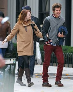 : Emma Stone and Andrew Garfield cracked up during a couple's outing in NYC in November 2011.