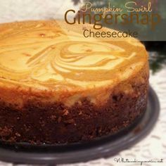 Pumpkin Swirl Gingersnap Cheesecake is a fun twist to your normal pumpkin cheesecake. The swirling of the pumpkin makes a beautiful festive holiday dessert.