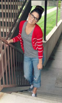 Fall Casual Outfit: Red and White Striped Cardigan + Grey V-Neck T-Shirt/Tee + Boyfriend/Rolled-Up/Cuffed Jeans + Grey Sneakers/Shoes + High Bun