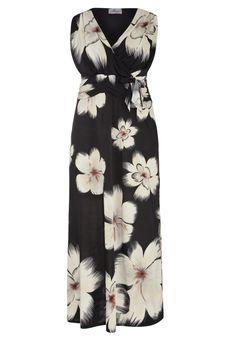 Praslin Maxikleid  Schwarzes Maxikleid mit hübschem Blütenprint  Praslin Maxi dress