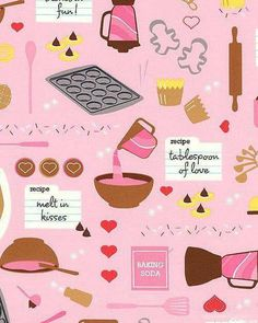 Baked With Love - Cook's Delight - Petal Pink Baking Wallpaper, Kitchen Wallpaper, Pink Lemon Tree, My Funny Valentine, Valentines, Chocolate Quotes, Cupcake Pictures, Recipe Scrapbook, Cupcake Art