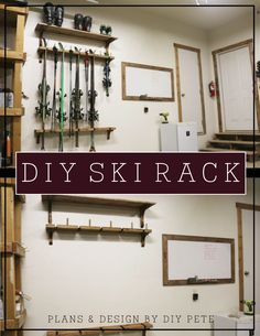 Organize your skis, poles, and boots for the whole family with this easy to build DIY ski rack.  Add additional shelves for even more storage!