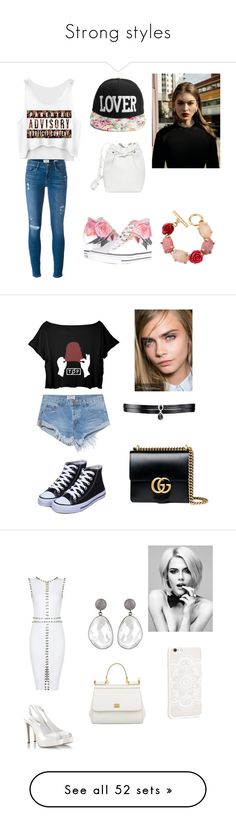 """Strong styles"" by kleopatra92 ❤ liked on Polyvore featuring beauty, Frame Denim, Converse, Mansur Gavriel, Oscar de la Renta, One Teaspoon, Gucci, Fallon, Fratelli Karida and JFR"