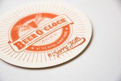 AGDA's Beer O'Clock Letterpress coasters & invite by Jess Foy, via Behance