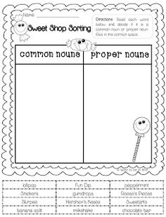FREEBIE! Common & Proper Noun Sort-I've found that anytime my son uses scissors and glue his retention increases. (Amazing to see the brain at work!)