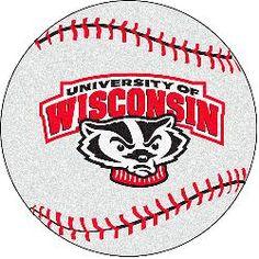 Fanmats Wisconsin Badgers Baseball-Shaped Mat