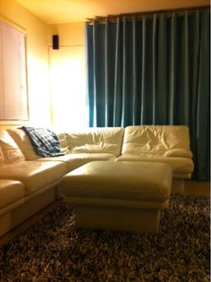 Bernhardt modern white leather sectional with ikea window treatments covering an sliding glass door. Work in progress across the country! Barn Door Window, Diy Barn Door, Diy Door, Door Window Treatments, Window Treatments Living Room, Frosted Glass Door, Sliding Glass Door, Door Frame Molding, Glass Kitchen Cabinet Doors