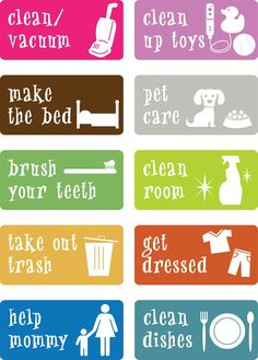 Printable chore cards for little ones
