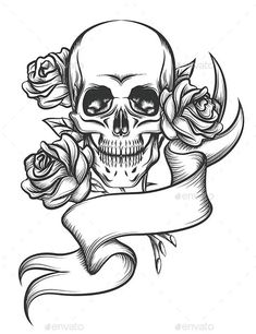 Buy Skull and Roses with Ribbon by on GraphicRiver. Human skull with roses and blank ribbon. Illustration in tattoo style isolated on white background. Tatto Skull, Skull Rose Tattoos, Skull Tattoo Design, Tattoo Design Drawings, Tattoo Sketches, Body Art Tattoos, Tattoo Illustrations, Skull Drawings, Skull Logo