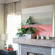 Make your own DIY TV Cover with this simple tutorial from handcrafted lifestyle expert Lia Griffith and her team. Tv Over Fireplace, Fireplace Cover, Diy Fireplace, Fireplaces, Fireplace Remodel, Mantle, Diy Tv, Living Room Update, Living Room Decor