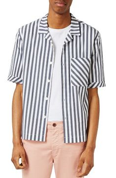 Free shipping and returns on Topman Stripe Camp Shirt at Nordstrom.com. A bias-cut chest pocket offsets the horizontal stripes of a leisurely camp shirt perfect for layering a T-shirt underneath and leaving unbuttoned.