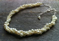 Ivory Pearl Necklace Twisted Clusters on by haileyallendesigns, $30.00