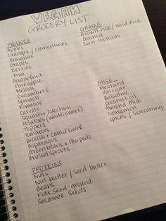 My basic go-to vegan grocery list.