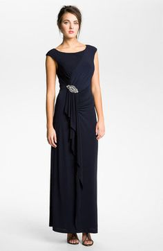ShopStyle: Eliza J Boatneck Draped Ruffle Front Jersey Gown
