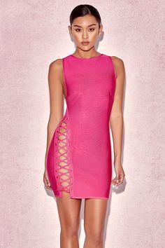 Sakara Hot Pink Side Lace Bandage Dress