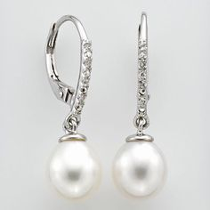 Sterling Silver Freshwater Cultured Pearl and White Topaz Drop Earrings $56 (kohls)
