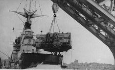 "HMS Hood (Malta 1938) - Stern anti-aircraft ""pom poms"" gun being installed - Eight barrelled mounting (no gun barrels present)"